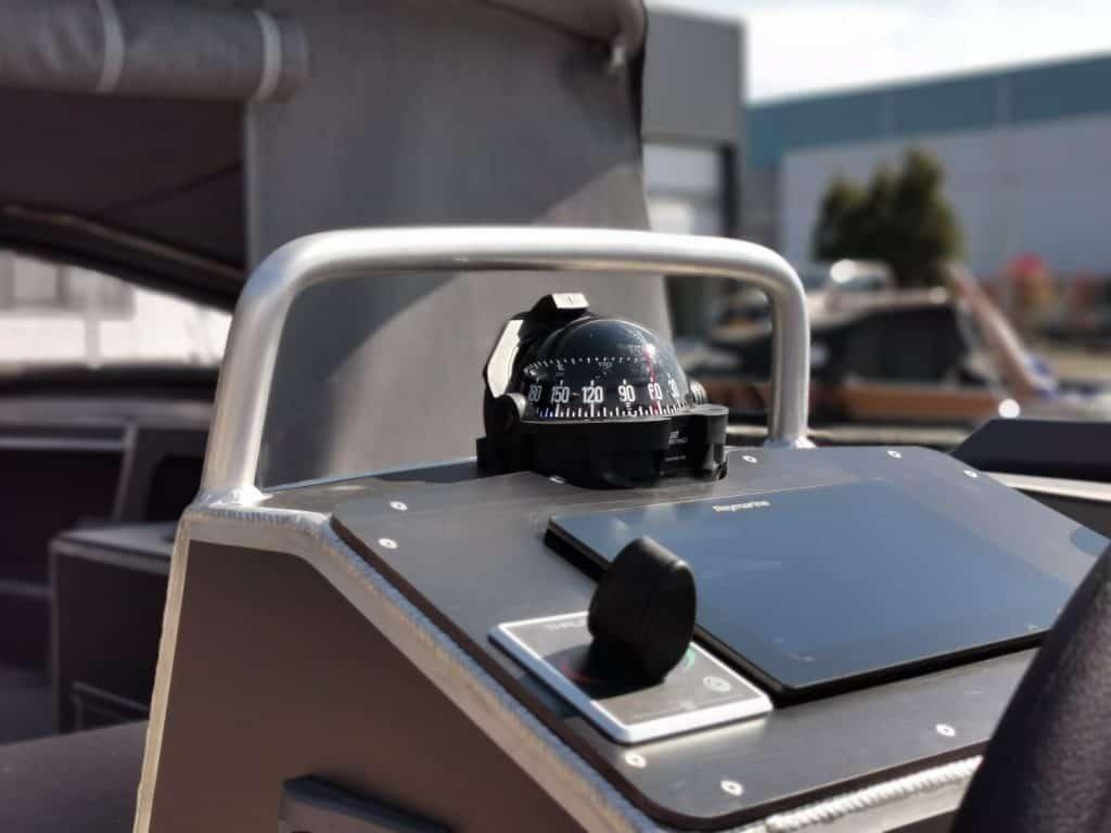 detail van een aluminium boot